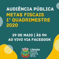 Convite: Audiência Pública sobre Metas Fiscais do 1º Quadrimestre de 2020