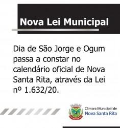 Dia de São Jorge e Ogum passa a constar no calendário oficial de Nova Santa Rita